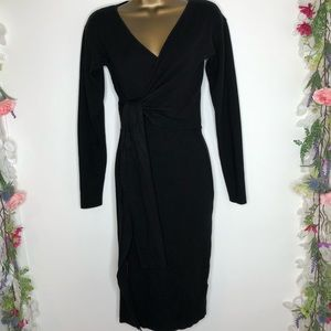 Hera Co. black long sleeve sweater dress wrap top